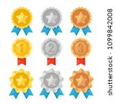 gold  silver  bronze medal for... | Shutterstock .eps vector #1099842008