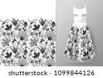 vertical fantasy flowers border ... | Shutterstock .eps vector #1099844126