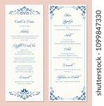 ornate wedding menu card. swirl ... | Shutterstock .eps vector #1099847330