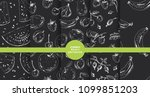 set of hand drawn fruit and... | Shutterstock .eps vector #1099851203