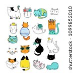 cats cute doodles  collection... | Shutterstock .eps vector #1099852010