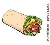 shaurma vector illustration ... | Shutterstock .eps vector #1099853366