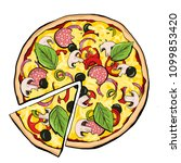 pizza pepperoni with slice ... | Shutterstock .eps vector #1099853420