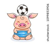 Cute Cartoon Pig With A Soccer...