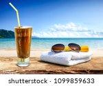 summer photo of desk with... | Shutterstock . vector #1099859633