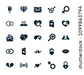 romance icon. collection of 25... | Shutterstock .eps vector #1099863794