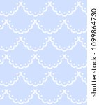 Blue And White Scalloped Lacy...