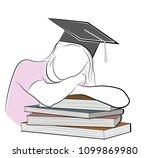 the girl lies leaning on books. ... | Shutterstock .eps vector #1099869980