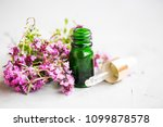 thyme essential oil bottle with ... | Shutterstock . vector #1099878578