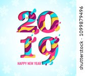 2019 happy new year paper craft ... | Shutterstock .eps vector #1099879496