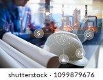 double exposure of engineer... | Shutterstock . vector #1099879676