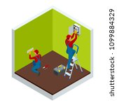 isometric master electrician at ... | Shutterstock .eps vector #1099884329