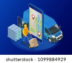 isometric online express  free  ... | Shutterstock .eps vector #1099884929