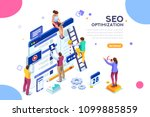 conceptual web seo illustration.... | Shutterstock .eps vector #1099885859