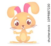 cute cartoon rabbit with big... | Shutterstock .eps vector #1099887230