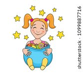 a funny smiling girl with a bag ... | Shutterstock .eps vector #1099887716