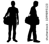 silhouettes of men with luggage | Shutterstock .eps vector #1099895123