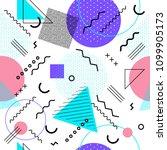 memphis seamless pattern... | Shutterstock .eps vector #1099905173