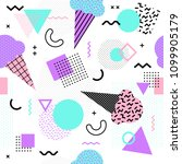 memphis seamless pattern with...   Shutterstock .eps vector #1099905179
