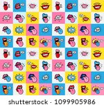 Pop Art Lips Seamless Pattern....