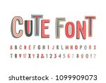 uppercase cute alphabet font.... | Shutterstock .eps vector #1099909073
