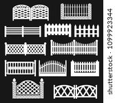 fence icons. fence silhouette... | Shutterstock .eps vector #1099923344