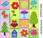 patchwork with birds and... | Shutterstock .eps vector #109992380