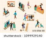 clothing store. vectpr... | Shutterstock .eps vector #1099929140