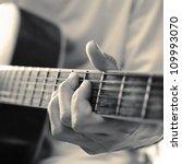 Close Up Of Guitarist Hand...