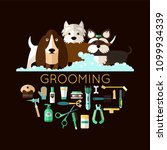 round banner with grooming dogs ... | Shutterstock .eps vector #1099934339