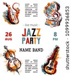 jazz music party poster with... | Shutterstock .eps vector #1099936853