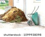 wheelbarrow and manure heap | Shutterstock . vector #1099938098