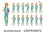 female student   vector cartoon ... | Shutterstock .eps vector #1099943870