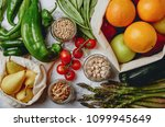 zero waste grocery shopping.... | Shutterstock . vector #1099945649