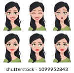 face expressions of beautiful... | Shutterstock .eps vector #1099952843