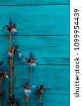 iris flower on a wooden... | Shutterstock . vector #1099954439