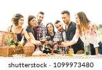 young friends having fun...   Shutterstock . vector #1099973480