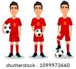 football player in red uniform  ... | Shutterstock .eps vector #1099973660