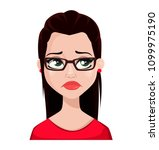face expression of beautiful... | Shutterstock .eps vector #1099975190