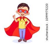 cute super boy with a raised... | Shutterstock .eps vector #1099975220