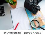 office decoration with laptop ... | Shutterstock . vector #1099977083