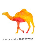 watercolor silhouette of a camel | Shutterstock .eps vector #1099987556