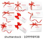Set of card notes with red gift bows with ribbons Vector | Shutterstock vector #109998938