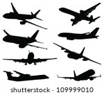 set of aircraft silhouettes... | Shutterstock .eps vector #109999010