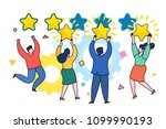 concept of five stars rating... | Shutterstock .eps vector #1099990193