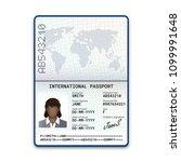 international female passport... | Shutterstock .eps vector #1099991648