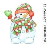 happy snowman cartoon  ... | Shutterstock . vector #1099992473