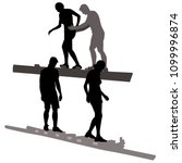 vector silhouettes 4 people in... | Shutterstock .eps vector #1099996874