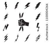 lightning bolt icons isolated | Shutterstock .eps vector #1100004266