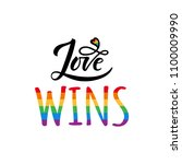 love wins lettering with... | Shutterstock .eps vector #1100009990